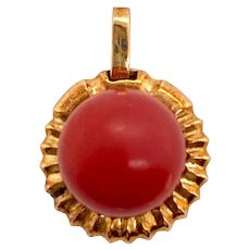 18K Gold Red Coral Round Bead Pendant