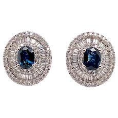 Elegant 18K White Gold Diamond Natural Sapphire Earrings