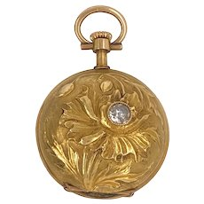 14K Gold Art Nouveau French Diamond Pendant Watch