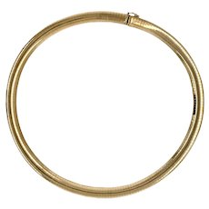 8 mm 14K Gold 16″ Domed Omega Chain Necklace
