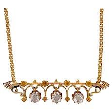 Victorian 14K Gold White Sapphire Pendant Necklace