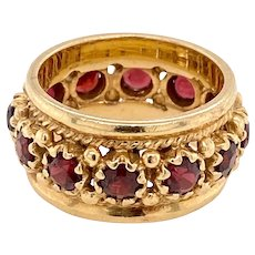 Retro 14K Gold Garnet Ring Band