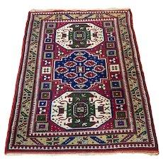 Antique Caucasian Geometric Carpet Rug