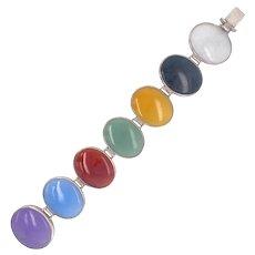 Sterling Articulated Oval Stone Link Bracelet