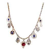 Edwardian 14K White & Yellow Gold Gemstone Charm Necklace