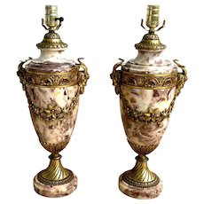 French Louis XVI Style Marble & Bronze Urn Form Lamps