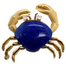 18K Gold Lapis Lazuli Diamond Crab Pin