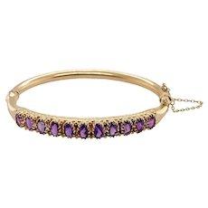 Victorian Style 14K Gold Amethyst Bangle Bracelet