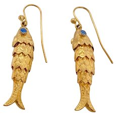 Pair 18K Gold Articulated Fish Earrings