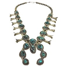 Vintage Navajo Turquoise & Silver Squash Blossom Necklace