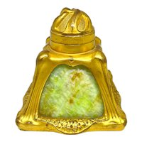 French Gilt Bronze Art Nouveau Inkwell With Slag Glass