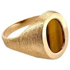 Vintage Man's 14K Gold & Tiger Eye Ring