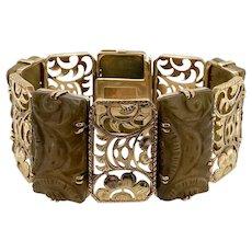 Vintage 14K Gold Carved Soapstone Link Bracelet