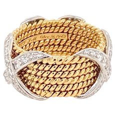 Tiffany & Co. Schlumberger Rope Six-Row X Ring With Diamonds