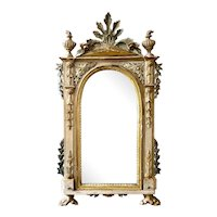 19th C. Continental Parcel Gilt Painted Baroque Mirror