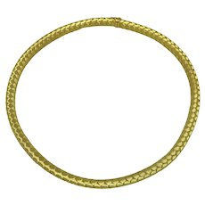 Italian 18K Gold Braided Necklace Collar with Sapphire Clasp