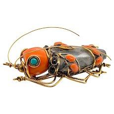 Iradj Moini Rare Semi Precious Stone Large Beetle Pin Brooch