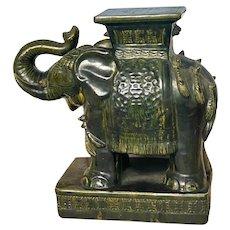 Asian Glazed Terra Cotta Elephant Garden Seat