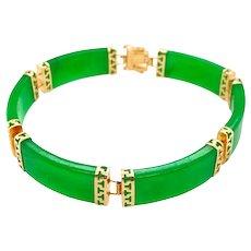 Vintage Chinese 14K Gold Jade Link Bracelet