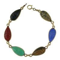 Vintage 14K Gold Hardstone Scarab Bracelet