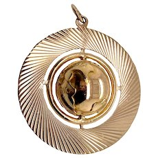 Large Vintage Spinning Globe Charm Pendant