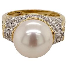 Vintage 14K Gold Pave Diamond & Cultured South Sea Pearl Ring