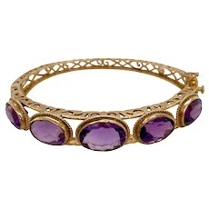 Victorian Style Reticulated Amethyst Bangle Bracelet