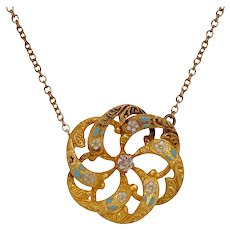 Victorian 14K Gold Enamel & Diamond Pinwheel Pendant Necklace