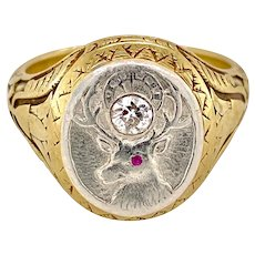 Victorian 14K Gold & Platinum Men's Ring with Stag & Diamond
