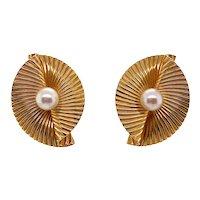 Retro Tiffany & Co. 14K Gold Cultured Pearl Clip Earrings