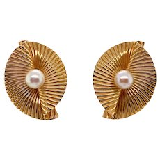 Retro Tiffany & Co. 14K Gold Cultured Pearl Clip Earrings