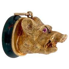 Victorian 9K Gold & Bloodstone Boar Hog Fob Charm