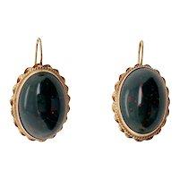 Victorian Style 14K Gold Bloodstone Pierced Earrings