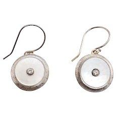 Edwardian 14K White Gold MOP Diamond Dangle Earrings with Diamond