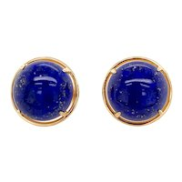 Gumps 14K Gold Lapis Lazuli Earrings Omega Backs