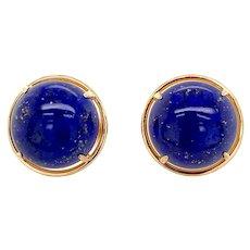 Gumps 14K Gold Lapis Lazuli Earrings Omega Backs