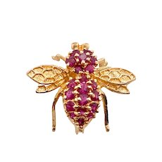 Vintage 14K Gold Ruby Bee Pin Pendant