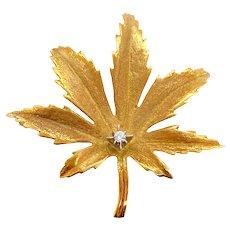 Vintage 18K Gold & Diamond Large Maple Or Marijuana Leaf