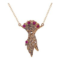 Early Victorian Diamond & Ruby Hand Pendant Necklace