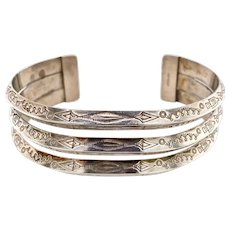 Vintage Silver Native American Tooled Cuff Bracelet