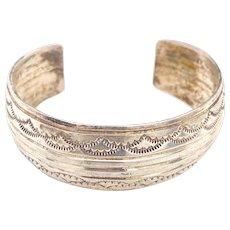 J. Bahe Navajo Native American Sterling Cuff Bracelet