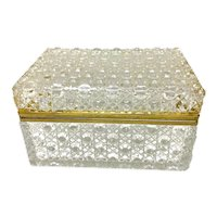 Vintage French Cut Crystal Box with Gilt Brass Mounts