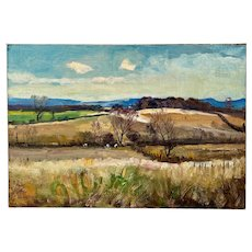 """Hawley Nell """" Hillside Landscape """" Painting Oil On Canvas"""