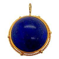 14K Gold Cabochon Lapis Lazuli Pendant