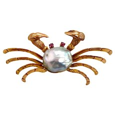 Vintage 14K Gold Crab Pin With Blue Cultured Pearl & Ruby Eyes
