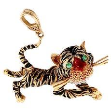 Frascarolo 18K Gold Italian Enamel Tiger Pendant