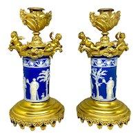 Pair English Gilt Bronze & Jasper Porcelain Candlesticks with Cherubs