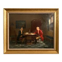 19th C. Interior Figural Genre Scene Oil on Canvas