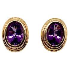 Vintage 14K Gold Bezel Set Amethyst Earrings With Omega Backs
