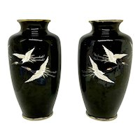 Pair Japanese Cloisonne Vases With Flying Cranes